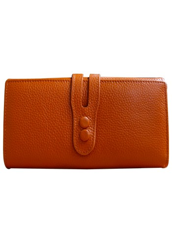 Michaela Grained Leather Wallet Camel