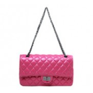 Adele Flap Bag Cowhide Leather Hot Pink