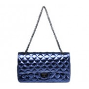 Adele Flap Bag Cowhide Leather Metallic Blue