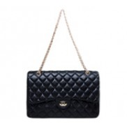 Adele Large Flap Bag Lambskin Black