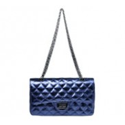 Iris Flap Bag Cowhide Leather Metallic Blue