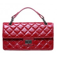 Annie Flap Leather Top Handle Bag Red