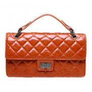 Annie Flap Leather Top Handle Bag Orange