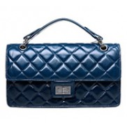 Annie Flap Leather Top Handle Bag Blue