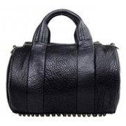 Balboa Duffle Studded Calfskin Leather Bag Black