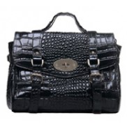 So Soho Reissue Croc Leather Satchel Black