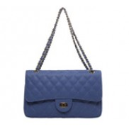 Adele Flap Bag Cowhide Leather Caviar Blue