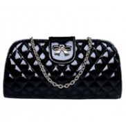 Vivian Patent Leather Clutch Black