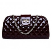 Vivian Patent Leather Clutch Wine