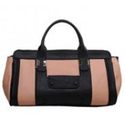 Audrey Satchel Leather Bag Black And Pink