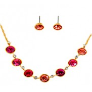 Carly Necklace & Earrings Set With Rhinestone In Gold Fushia