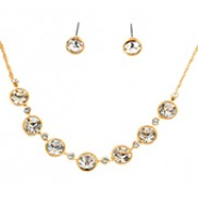 Carly Necklace & Earrings Set With Rhinestone In Gold White