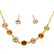 Carly Necklace & Earrings Set With Rhinestone In Gold Yellow