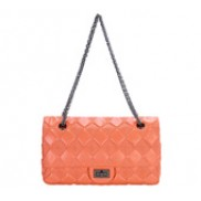 Caroline Double Flap Leather Bag Orange