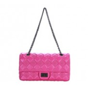 Caroline Double Flap Leather Bag Pink