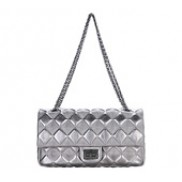 Caroline Double Flap Leather Bag Silver