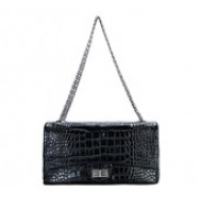Patty Double Flap Croc Leather Bag Black
