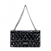 Patty Double Flap Patent Leather Bag Black