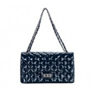 Patty Double Flap Patent Leather Bag Blue