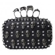 Katharine Skull Knuckle Box Clutch Black