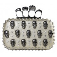 Katharine Skull Knuckle Box Clutch Gold