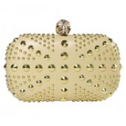 Christina Studs Union Jack Box Clutch Gold