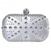 Christina Studs Union Jack Box Clutch Silver