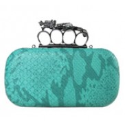Meryl Python Skin Knuckle Box Clutch Green