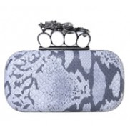 Meryl Python Skin Knuckle Box Clutch Grey