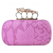 Meryl Python Skin Knuckle Box Clutch Pink