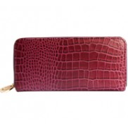 Yukon Purse Wallet Croc Effect Leather Purple