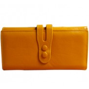 Michaela Grained Leather Wallet Yellow