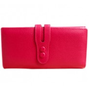 Michaela Grained Leather Wallet Pink