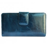 Britannia Long Wallet Cowhide Leather Blue