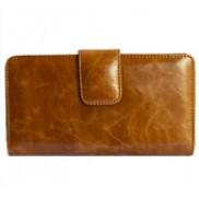 Britannia Long Wallet Cowhide Leather Tan