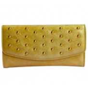 Scarlet Studded Long Wallet Leather Beige