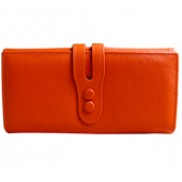 Michaela Grained Leather Wallet Orange