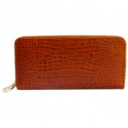 Yukon Purse Wallet Croc Effect Leather Brown