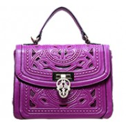 Shirley Top Handle Bag In Perforated Leather Purple
