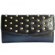 Scarlet Studded Long Wallet Leather Black
