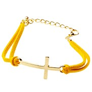 Trendy Yellow Leather Bracelet Cross Gold