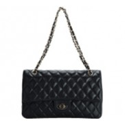 Adele Flap Bag Cowhide Leather Caviar Black