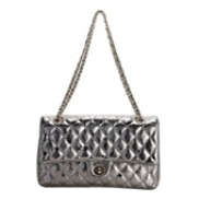 Adele Flap Bag Cowhide Leather Metallic Silver