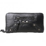 The Biker Leather Long Wallet Black