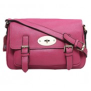 Brit Preppy Satchel Cowhide Leather Hot Pink