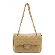 C World Flap Bag Leather Dark Beige