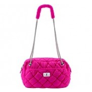 Queen Large Chain Quilted Bag Hot Pink