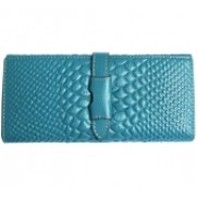 Cameron Long Wallet Croc Effect Blue