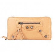 The Biker Leather Long Wallet Camel