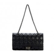 Caroline Double Flap Leather Bag Black